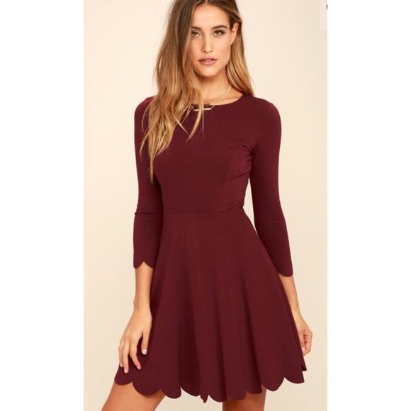 4fd26513eeb8 Lulu s Dresses   Skirts - Lulus Burgundy Long Sleeve Skater Dress